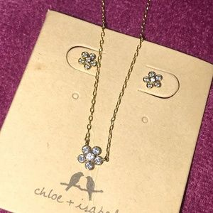 Petits Bijoux Flower Stud Earrings and Necklace